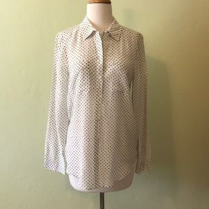 LOFT Black and White Buttoned Shirt